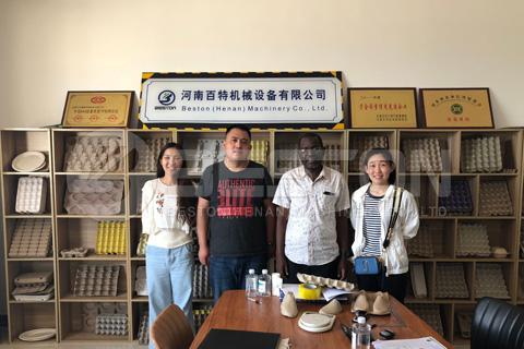 Nigerian Customer Visited Beston Egg Tray Making Machine Factory
