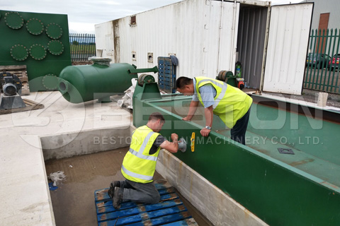 La planta de pirólisis de neumáticos Beston BLJ-16 en el Reino Unido