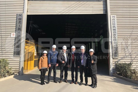 Customers and Salespersons In Front of Beston Pyrolysis Factory