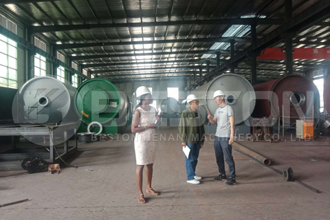 South African Customers Visited Beston Pyrolysis Plant