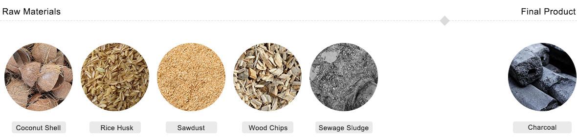 Materias primas adecuadas para la máquina de hacer carbón de biomasa