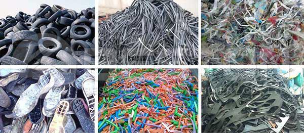 Productos de caucho de desecho