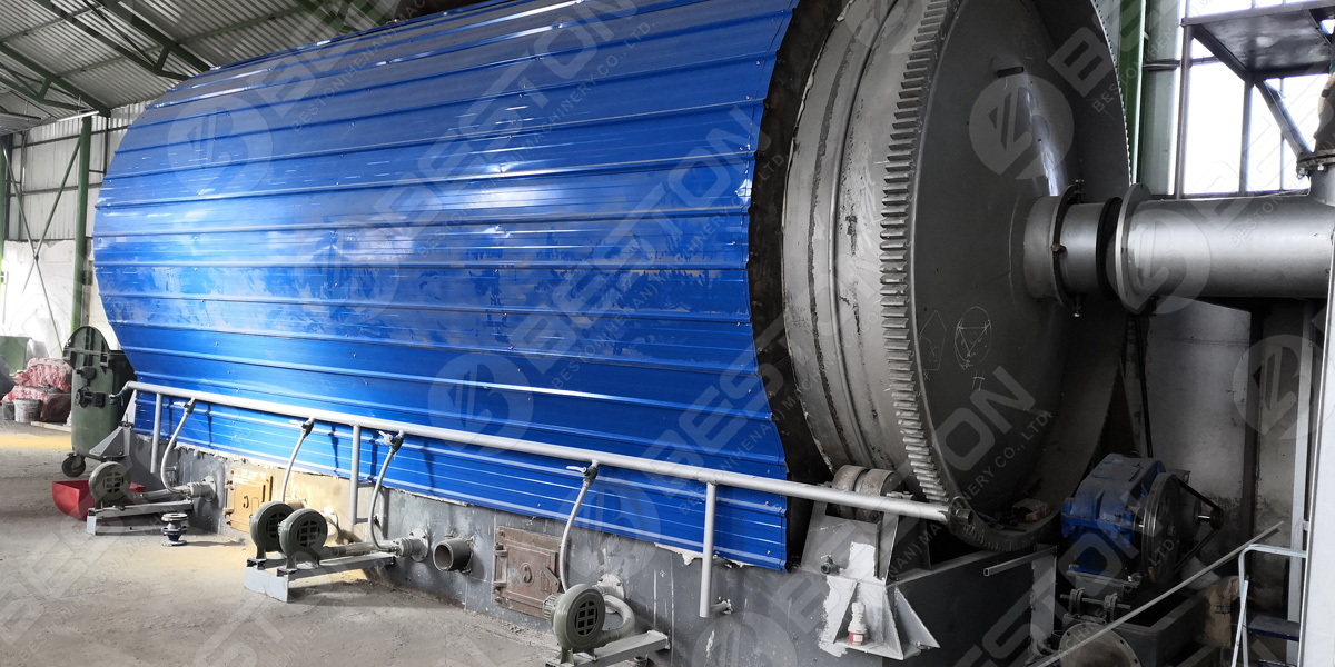 BLL-16 waste tire pyrolysis machine in Romania